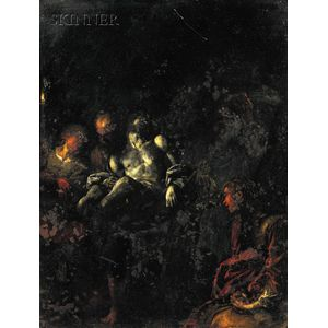 Continental School, 18th Century      Descent from the Cross by Torchlight