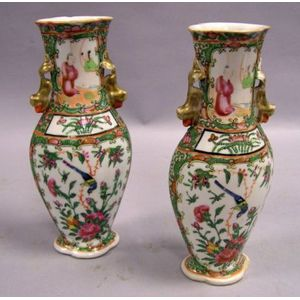 Pair of Chinese Export Porcelain Rose Medallion Vases.