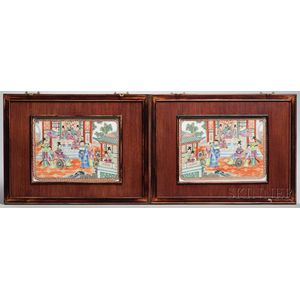 Pair of Enameled Plaques