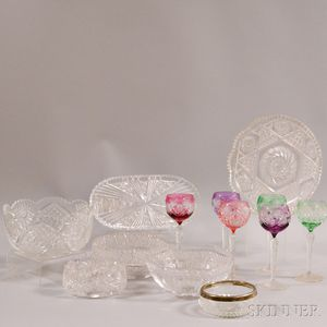 Six Colored Glass Wines and Seven Colorless Tableware Items.     Estimate $150-250