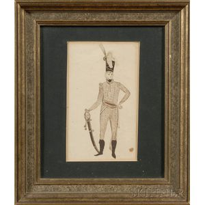 American/Continental School, 19th Century      Portrait of a Soldier.