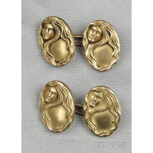 Art Nouveau 14kt Gold Cuff Links, Carrington & Co.