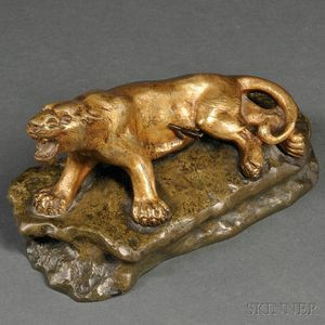Gilt-bronze Model of a Wounded Mountain Lion