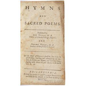 Wesley, John (1703-1791) and Charles (1707-1788) Hymns and Sacred Poems.