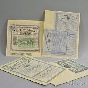 Group of Engraved Stock Certificates and Bonds