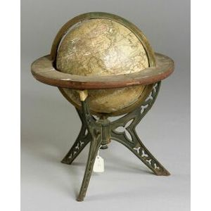 American Eight Inch Terrestrial Globe on Wrought Iron Stand
