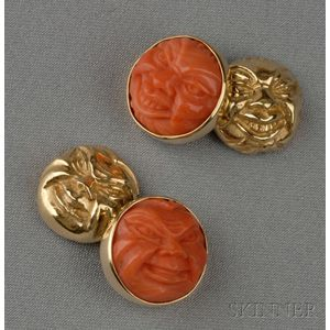 18kt Gold and Carved Coral Cuff Links
