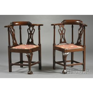 Near Pair of Chippendale-style Carved Mahogany Child