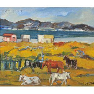 Costantino Spada (Italian, 1922-1975)    Coastal Landscape with Horses at Pasture