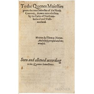 Norton, Thomas (1532-1584) To the Quenes Majesties Poore Deceiued Subiectes of the North Countrey, Drawen into Rebellion by the Earles