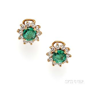 18kt Gold, Emerald, and Diamond Earclips, Tiffany & Co.