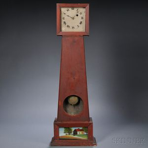 Red-painted Pine Wall Timepiece