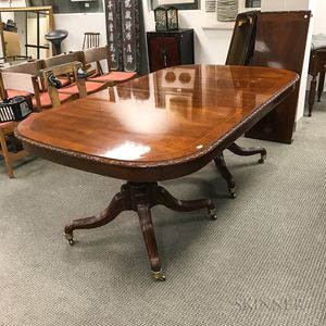 Georgian-style Inlaid Mahogany Double-pedestal Dining Table