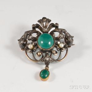 18kt Gold, Diamond, Pearl, and Hardstone Brooch