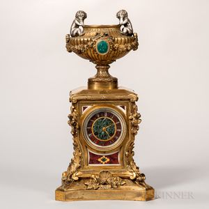 Dore Bronze and Specimen Marble Mantel Clock