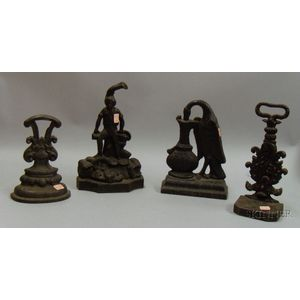 Four Black-painted Cast Iron Doorstops