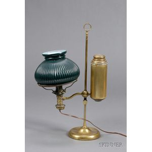 Brass Student Lamp with Green Glass Shade
