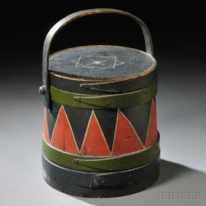Paint-decorated Firkin with Swing Handle