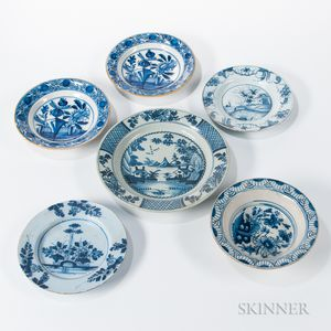 Six Tin-glazed Earthenware Table Items