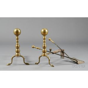 Pair of Brass and Iron Belted Ball-top Andirons and Two Matching Hearth Tools