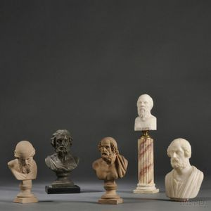 Five Grand Tour Portrait Busts Depicting Homer, Socrates, and Plato