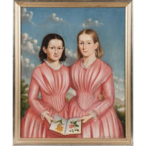 American School, 19th Century      Double Portrait of Mary Elizabeth and Caroline Brackett of Newton, Massachusetts, in Pink Dresses