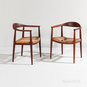 "Pair of Hans Wegner for Johannes Hansen Model 501 ""The Chair"" Armchairs"