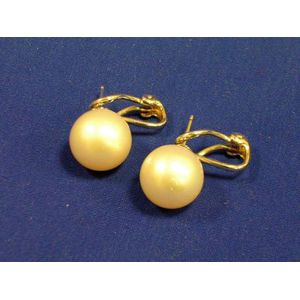 14K White Gold and 11.30 mm Pearl Earrings.