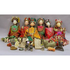 Six Thai Puppets, and Twelve Assorted Asian Decorative Hardstone, Metal, Ceramic and Ivory Items.