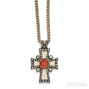 Carnelian Intaglio, Diamond, and Seed Pearl Cross Pendant