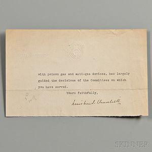 Churchill, Winston (1874-1965) Fragmentary Typed Letter Signed, 7 December 1918.