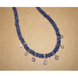 Platinum, Sapphire Bead, and Diamond Necklace.