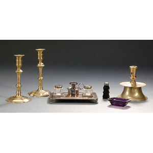 Three Brass Candlesticks, Two Small Colored Glass Items, and a Silver Plated   Desk Set