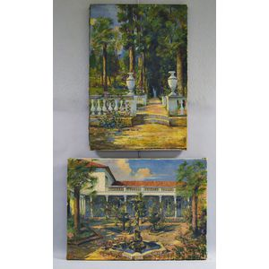 South American School, 20th Century      Two Garden Views:  Courtyard with Fountain
