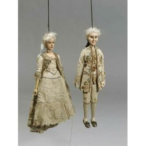 Two Continental Wood and Composition Puppets