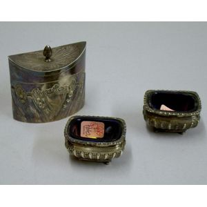 English Sterling Silver Tea Caddy and a Pair of Cobalt Glass-lined Salts.