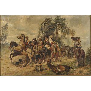 Max Ohmayer (German, 1903-1970)      Battle Scene, Ambush of the Canon