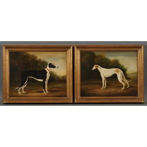Continental School, 20th Century      Lot of Two Paintings of Greyhounds