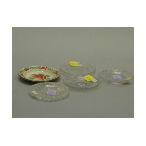 Four Colorless Glass Cup Plates and a Small Painted Queensware Dish.