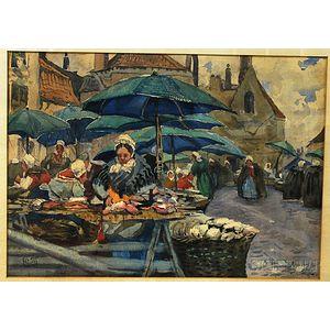 Continental School, 19th Century      Rainy Outdoor Market, Likely the North Coast of France.