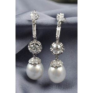Cultured Pearl and Diamond Earpendants