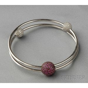 18kt White Gold, Pink Sapphire, and Diamond Bracelet