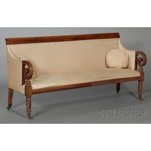 Late Federal Carved Mahogany and Mahogany Veneer Sofa