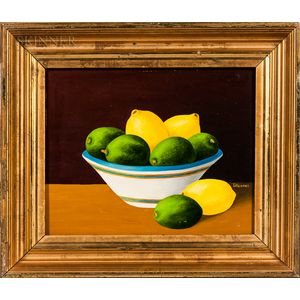 Luis Idigoras (Spanish/American, 1931-2003)    Lemons and Limes in a Pottery Bowl