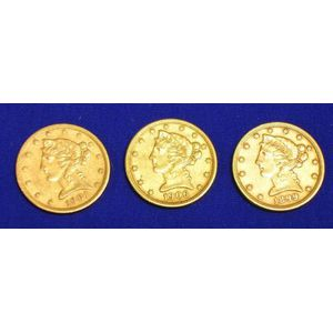 1899, 1901 S, and 1906 D Liberty Head Half Eagle Five Dollar Gold Coins.