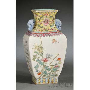 Porcelain Square Zun   Vase