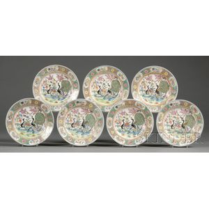 Seven Chinese Export Porcelain Peacock-decorated Dessert Plates