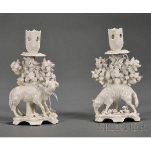 Pair of Bow Porcelain White Glazed Figural Candlesticks