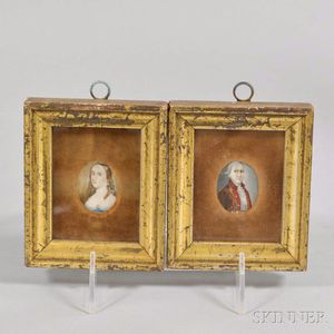 Two Framed Portrait Miniatures of a Man and Woman