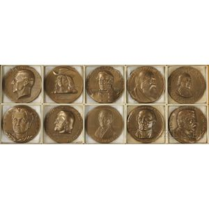 Ten Hall of Fame for Great Americans at New York University Bronze Medals